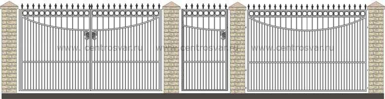 эскизы распашных ворот: